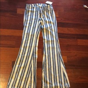 Free People bell bottom stripped jeans